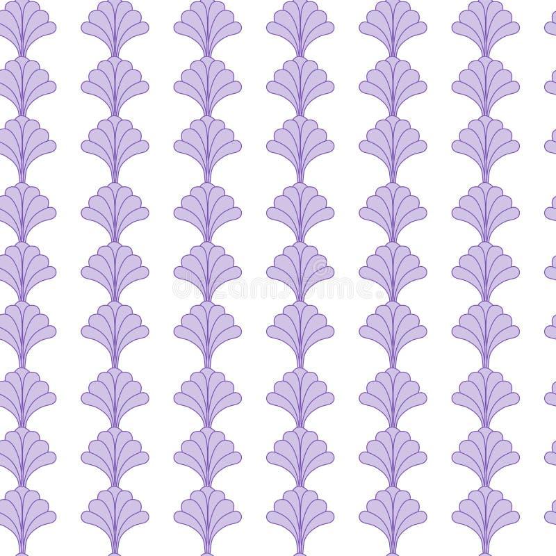Progettazione senza cuciture floreale piacevole del modello con i fiori porpora su fondo bianco illustrazione di stock