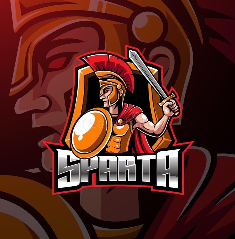 Progettazione spartana di logo della mascotte di sport royalty illustrazione gratis