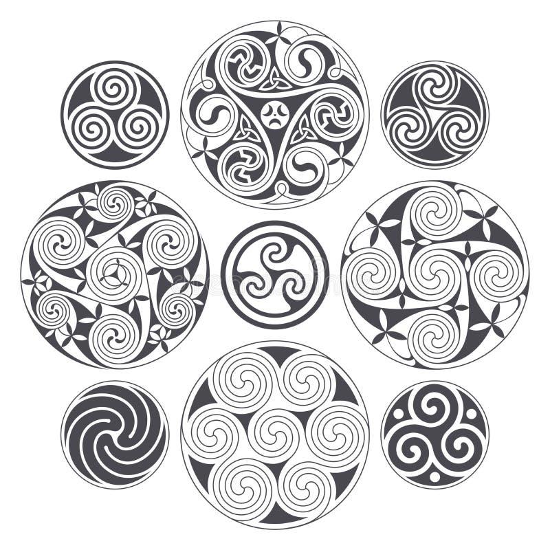 Progettazione a spirale celtica di vettore per le stampe, il tatuaggio e la decorazione illustrazione vettoriale