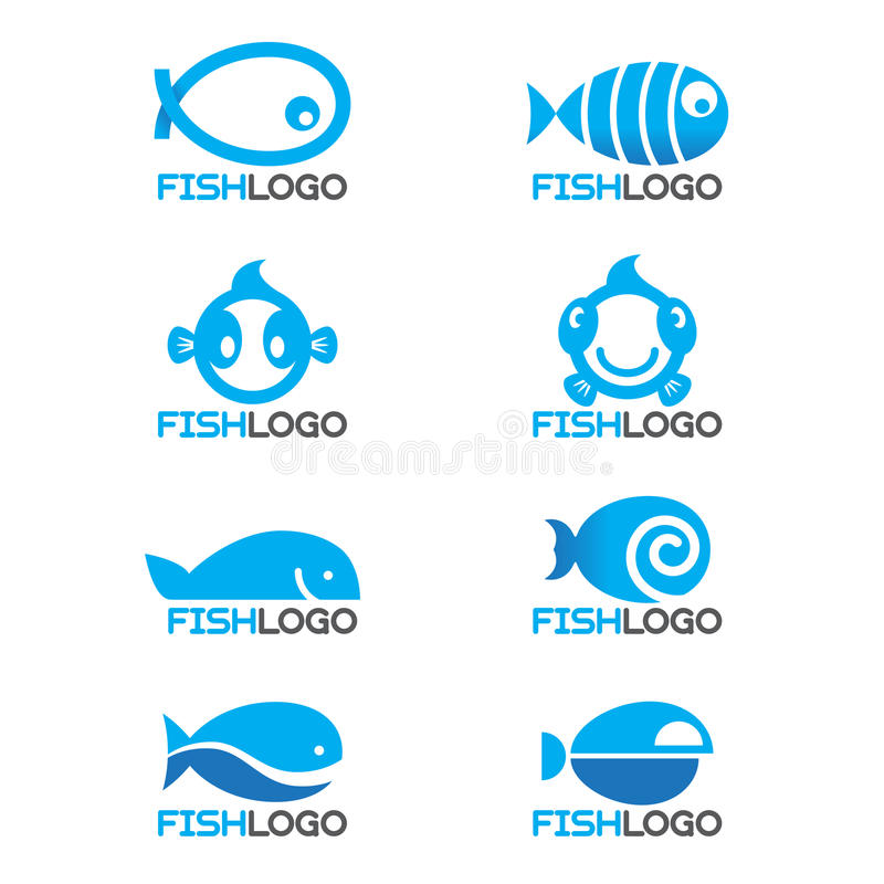 progettazione stabilita del pesce di 8 stili di vettore blu di logo royalty illustrazione gratis