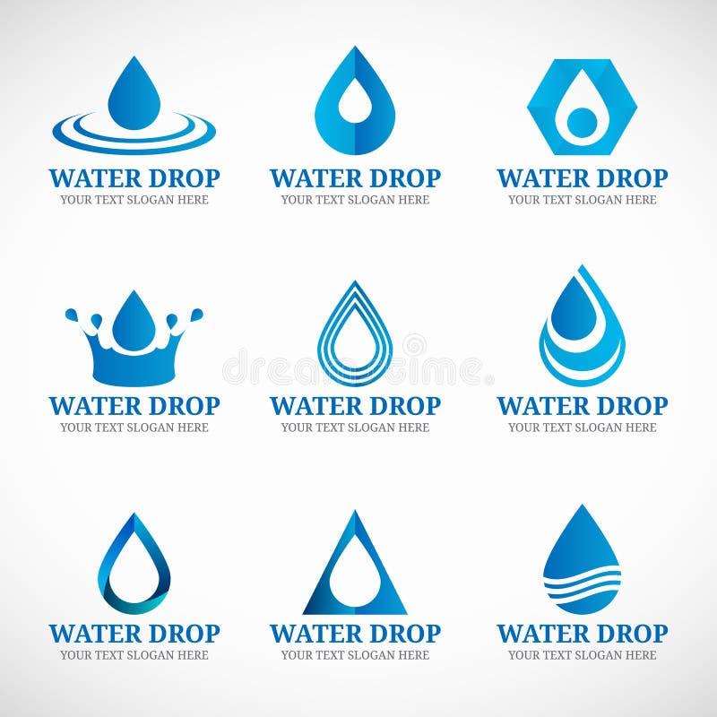 Progettazione stabilita della goccia di acqua di vettore blu di logo royalty illustrazione gratis