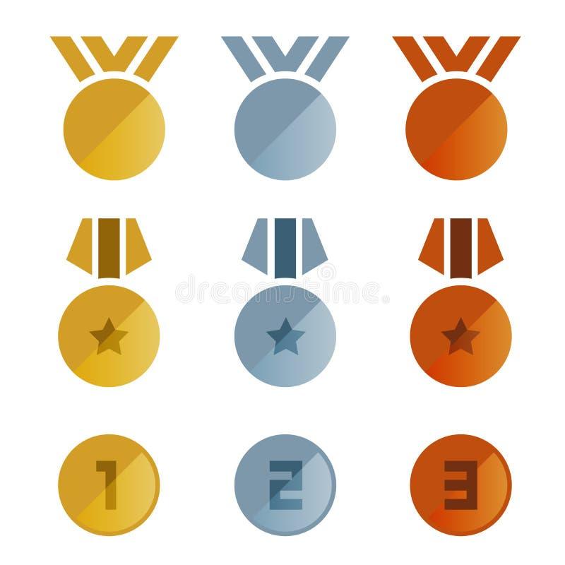 Progettazione stabilita delle medaglie di bronzo dell'oro di vettore d'argento dell'icona illustrazione di stock