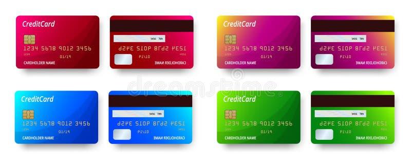 Progettazione stabilita dettagliata realistica delle carte di credito dei modelli Carta di credito o carta di debito di plastica  illustrazione vettoriale