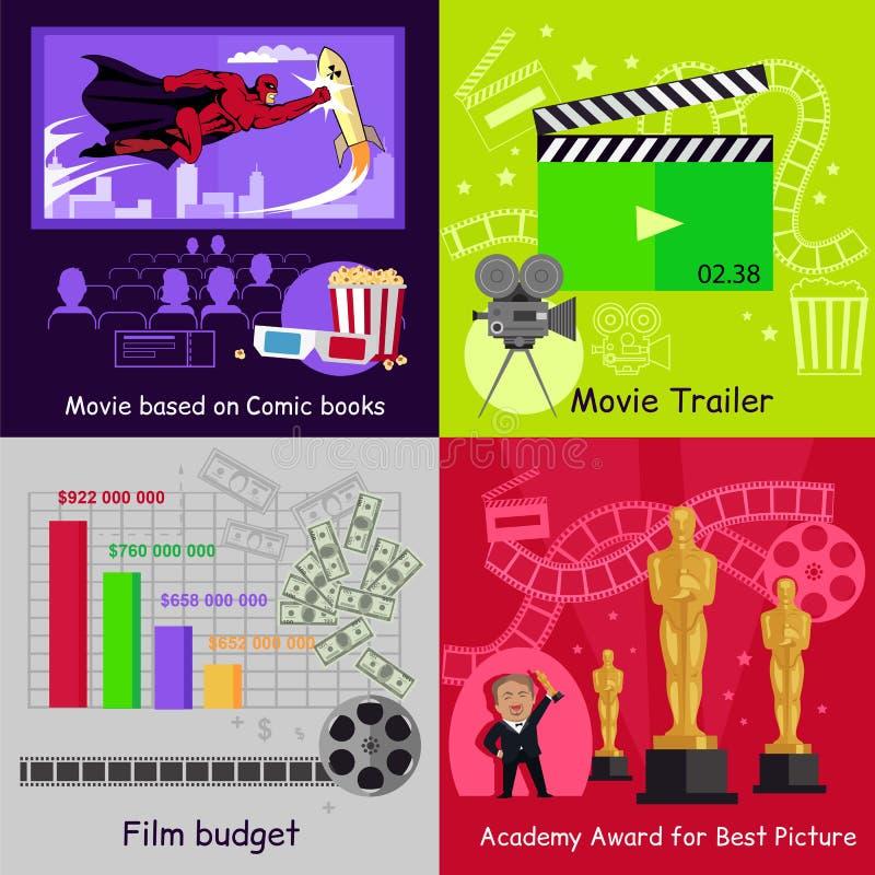 Progettazione stabilita di film del film delle insegne del cinema illustrazione di stock