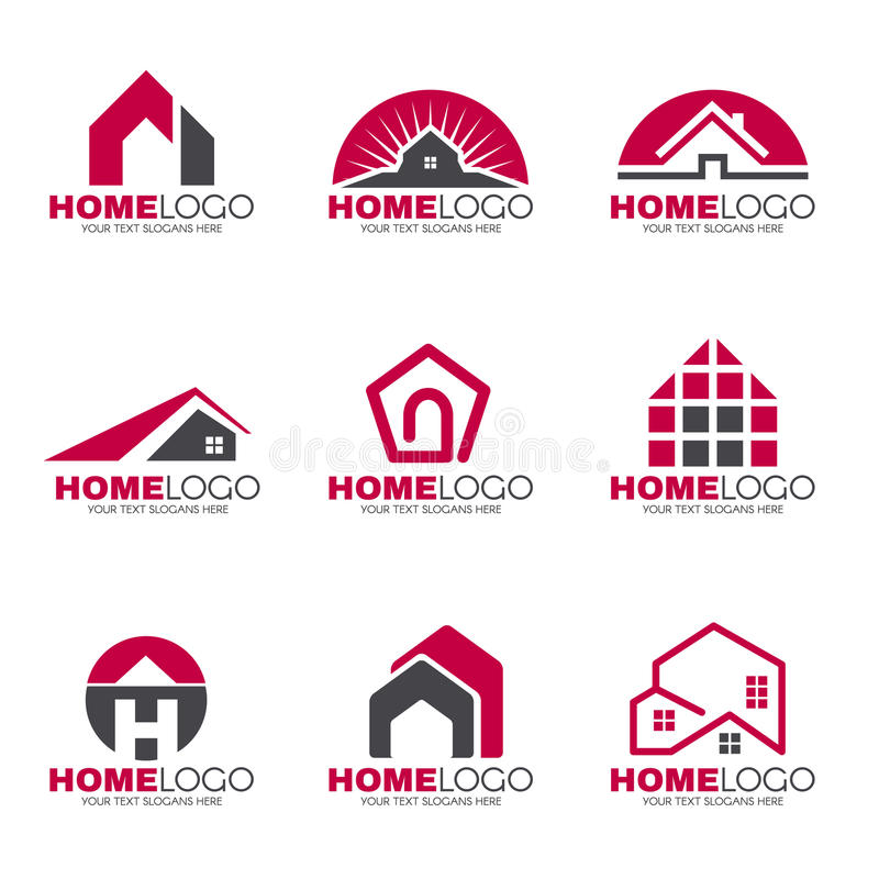 Progettazione stabilita di logo domestico rosso e grigio illustrazione di stock