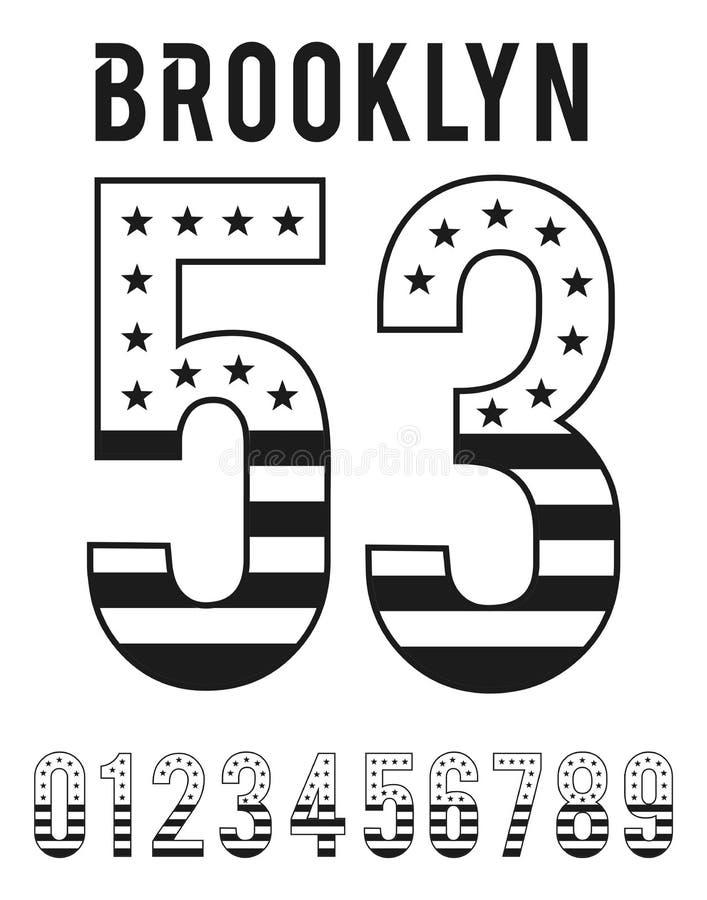 Progettazione stabilita di tipografia di U.S.A. della bandiera di numero di Brooklyn illustrazione vettoriale