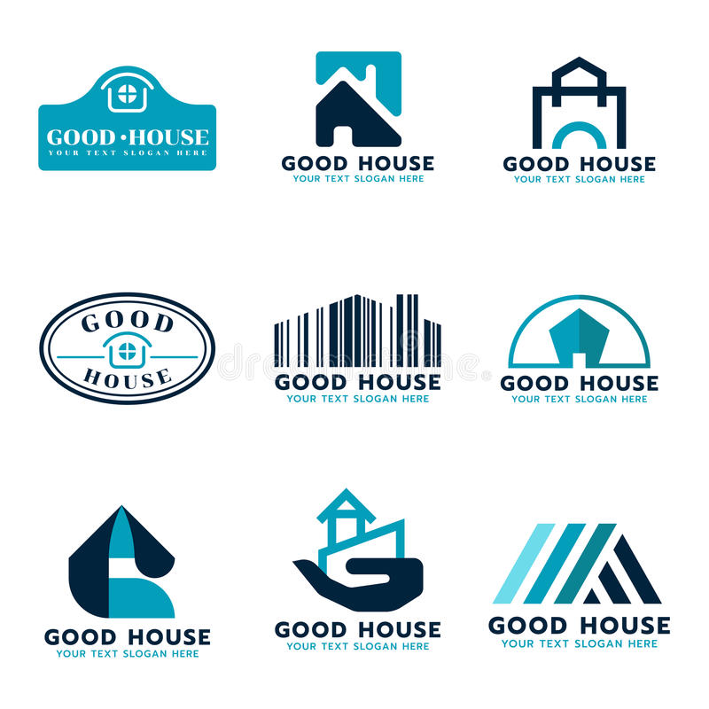 Progettazione stabilita di vettore di logo della Camera (tono blu e blu scuro del mare) illustrazione di stock