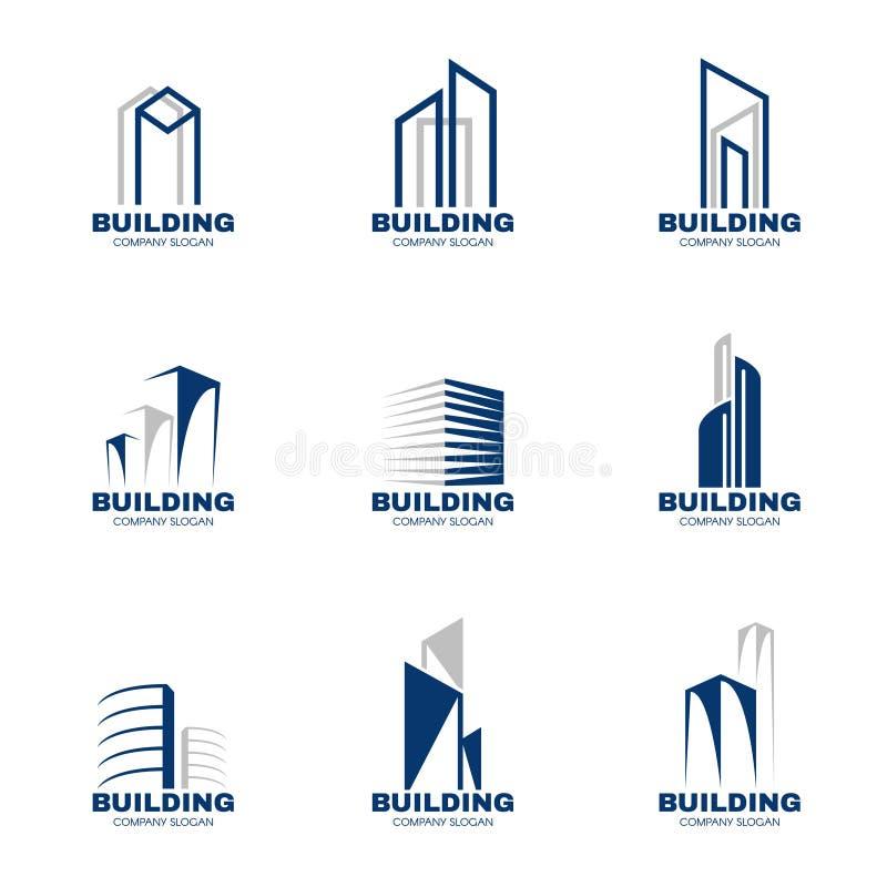 Progettazione stabilita di vettore di logo della costruzione di gray blu illustrazione di stock