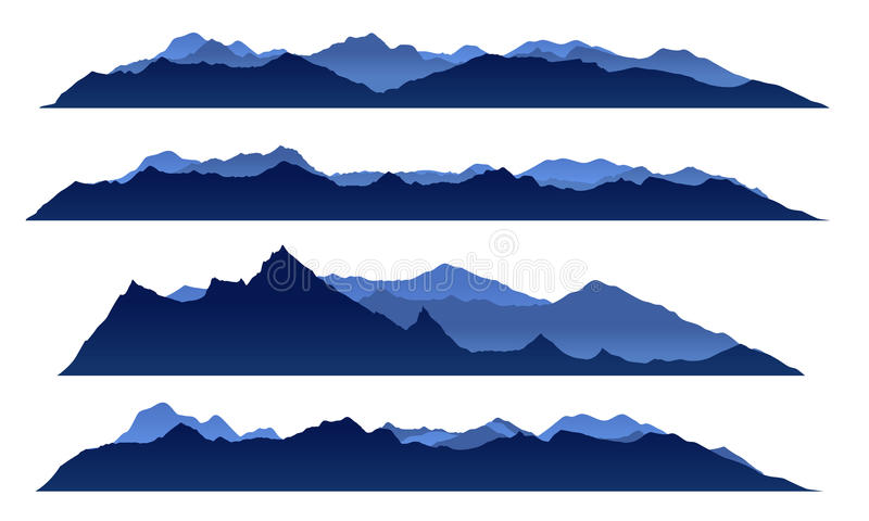 Progettazione stabilita di vettore di Mountain View del cielo blu illustrazione di stock
