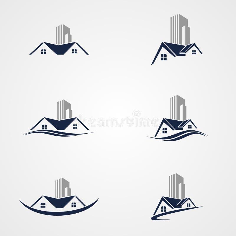 Progettazione stabilita di vettore di logo domestico - tetto royalty illustrazione gratis