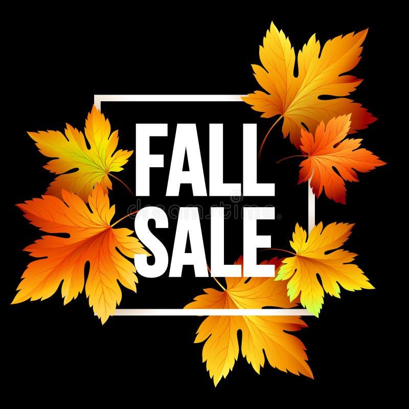 Progettazione stagionale dell'insegna di vendita di autunno Foglia di caduta Illustrazione di vettore royalty illustrazione gratis