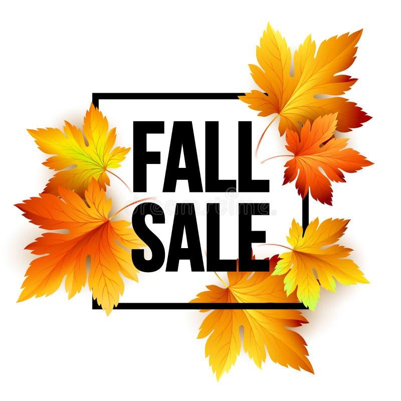 Progettazione stagionale dell'insegna di vendita di autunno Foglia di caduta Illustrazione di vettore illustrazione di stock