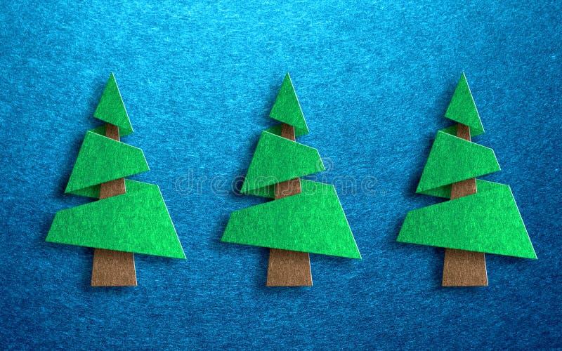 Progettazione stagionale della cartolina d'auguri con i pini illustrazione di stock