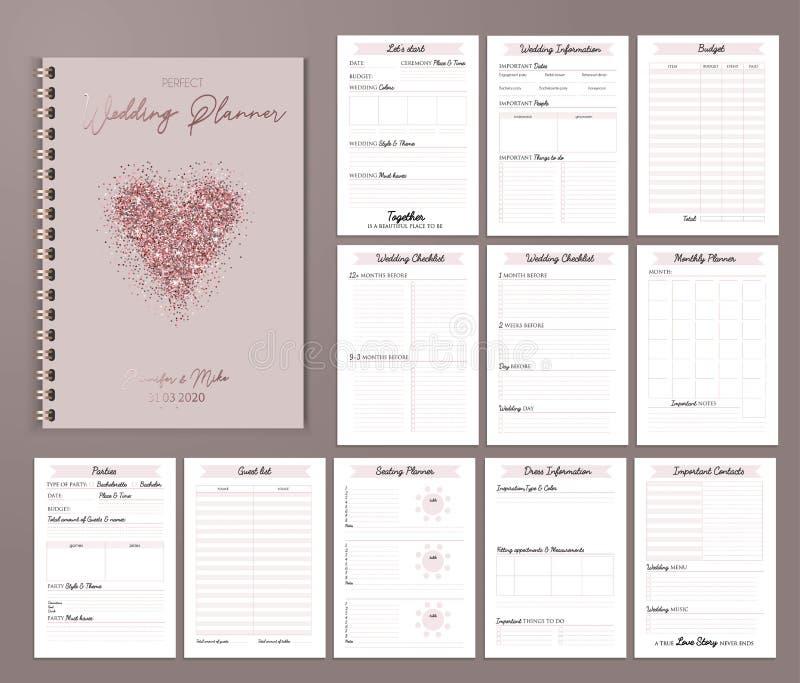 Progettazione stampabile con le liste di controllo, data importante del pianificatore di nozze illustrazione vettoriale