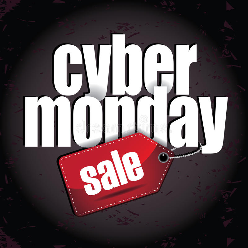 Progettazione stratificata lunedì cyber con l'etichetta di vendita illustrazione vettoriale