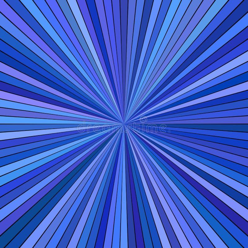 Progettazione a strisce astratta ipnotica blu del fondo di esplosione solare - grafico di vettore illustrazione vettoriale