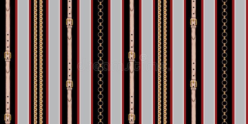 Progettazione a strisce senza cuciture con le catene e le cinghie su fondo allineato rosso e nero royalty illustrazione gratis