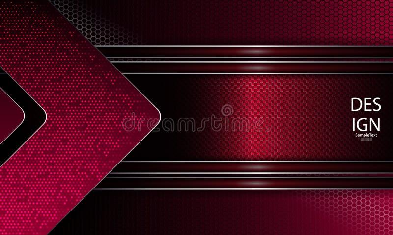 Progettazione strutturale geometrica dell'estratto di colore rosa scuro con la struttura, la griglia della maglia e la freccia im royalty illustrazione gratis