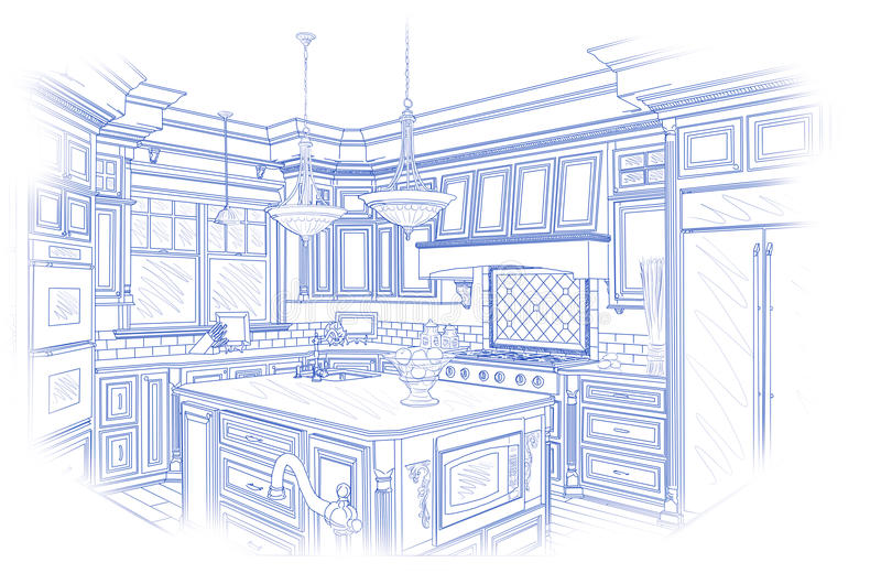 Progettazione su ordinazione della cucina del modello che attinge bianco royalty illustrazione gratis