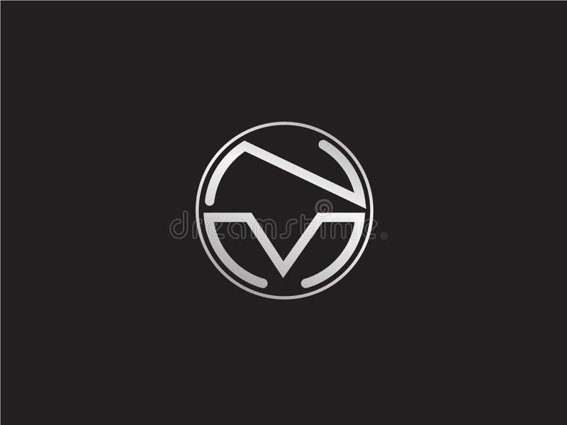 Progettazione successiva di logo del cerchio di nanometro di forma di colore iniziale dell'argento royalty illustrazione gratis