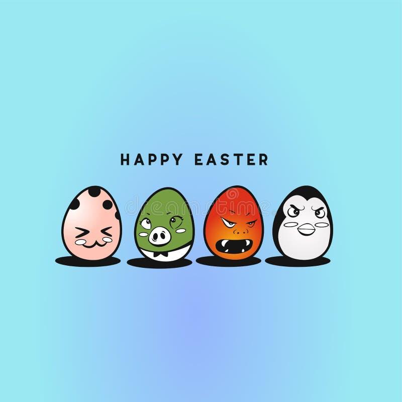 Progettazione sveglia dell'illustrazione di vettore delle uova di Pasqua fotografie stock