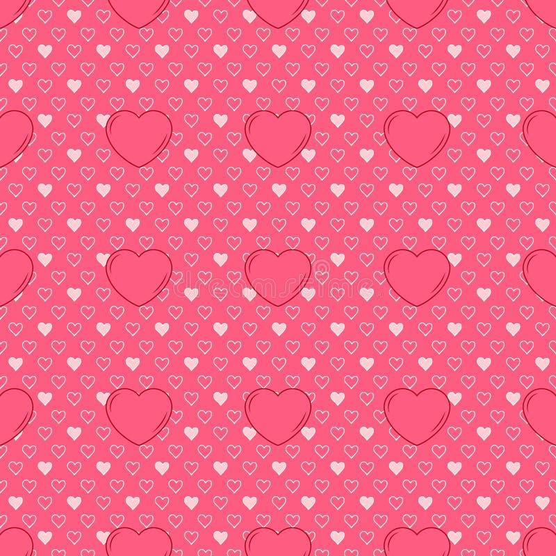 Progettazione sveglia senza cuciture semplice di vettore in biglietti di S. Valentino delle dimensioni e del rosa differenti per  illustrazione di stock