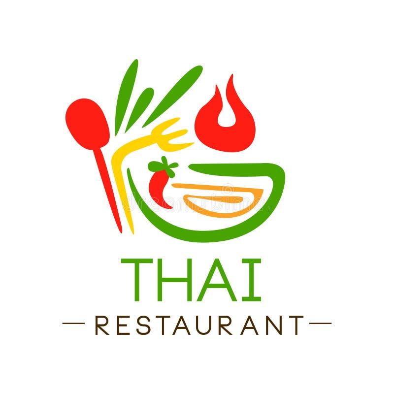 Progettazione tailandese di logo del ristorante, illustrazione continentale tradizionale autentica di vettore dell'etichetta dell royalty illustrazione gratis