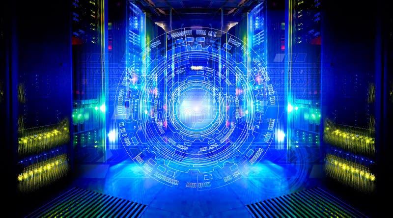Progettazione techna futuristica su fondo del centro dati fantastico del supercomputer immagini stock