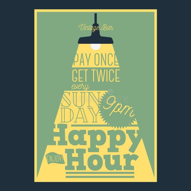 Progettazione tipografica del manifesto di happy hour con un fascio luminoso illustrazione di stock