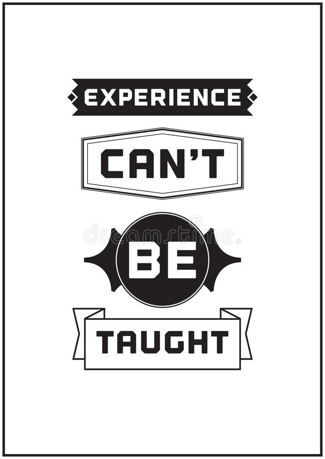 Progettazione tipografica del manifesto - l'esperienza non può essere insegnata a illustrazione di stock