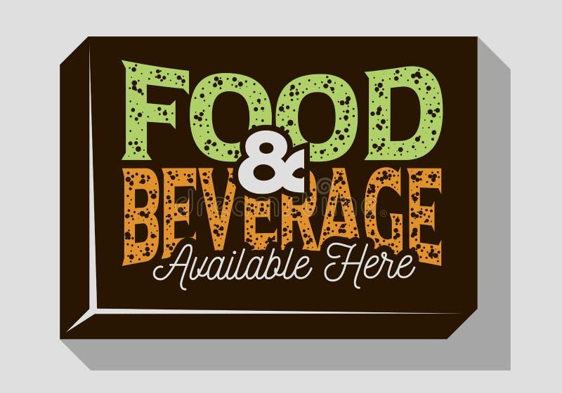Progettazione tipografica del segno della bevanda e dell'alimento per le barre dei ristoranti dei pub per la promozione illustrazione di stock