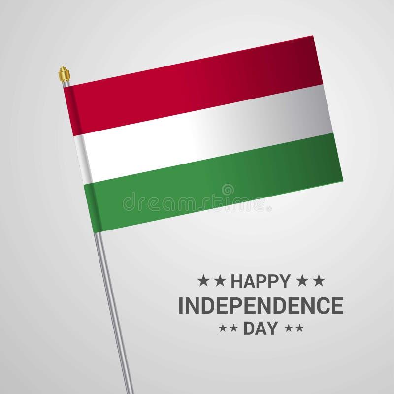 Progettazione tipografica di festa dell'indipendenza dell'Ungheria con il vettore della bandiera illustrazione vettoriale