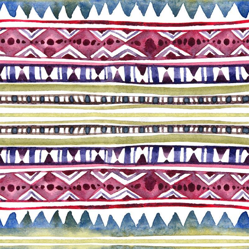 Progettazione tribale americana Fondo senza cuciture - modello tribale Acquerello dipinto a mano fotografie stock