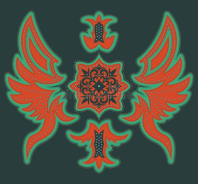 Progettazione tribale lussuosa astratta - progettazione grafica della maglietta con i punti ed i ribattini illustrazione vettoriale