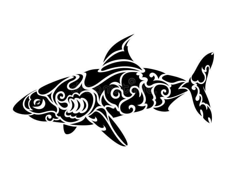 Progettazione tribale stilizzata del tatuaggio dello squalo su fondo bianco royalty illustrazione gratis