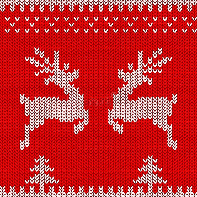 Progettazione tricottata del maglione con i cervi L'ornamento senza cuciture di Natale per tricotta i vestiti, carta Vettore illustrazione vettoriale