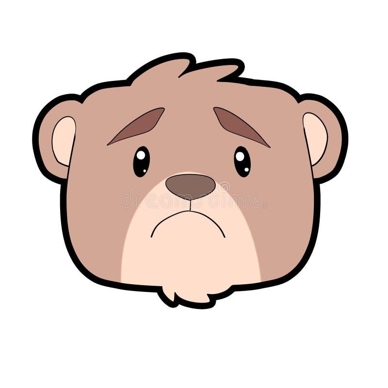Progettazione triste dell'orso del bambino per il vostro emoticon illustrazione di stock