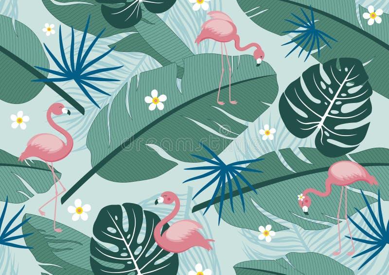Progettazione tropicale di estate del modello senza cuciture dell'illustrazione di vettore dei fenicotteri e delle foglie royalty illustrazione gratis