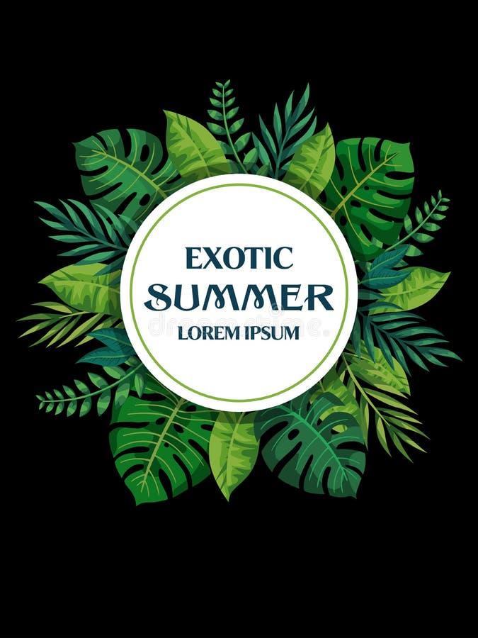 Progettazione tropicale di vettore delle foglie di estate d'avanguardia Reticolo floreale E royalty illustrazione gratis