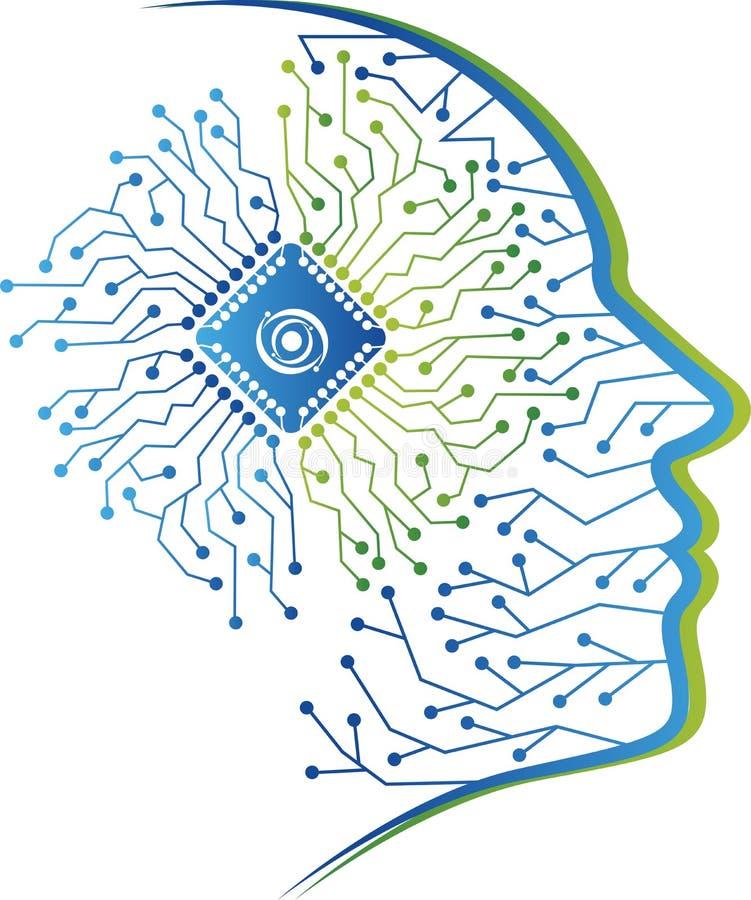 Progettazione umana di logo del circuito illustrazione vettoriale