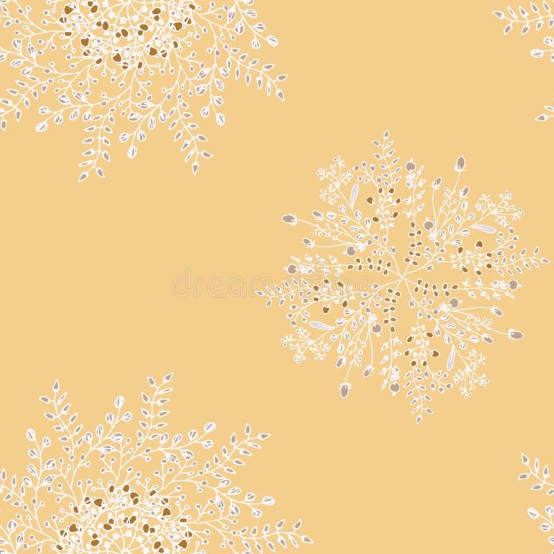 Progettazione unica della mandala di vettore Ornamento BO-noioso orientale floreale bianco su un fondo di colore della pesca royalty illustrazione gratis
