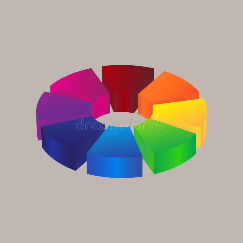 Progettazione variopinta astratta di logo dell'icona 3d illustrazione di stock
