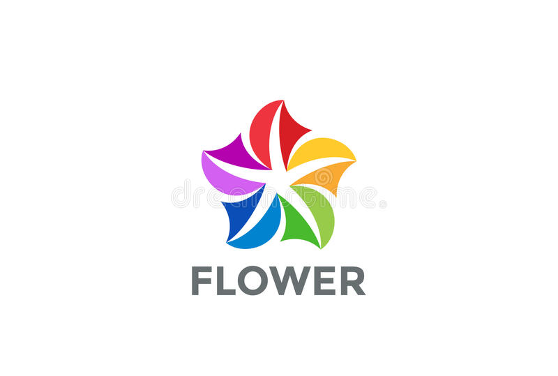 Progettazione variopinta del ciclo di logo del fiore illustrazione vettoriale