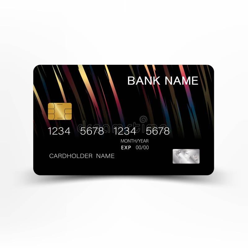 Progettazione variopinta del modello della carta di credito Su fondo bianco Illustrazione di vettore Stile di plastica lucido illustrazione di stock