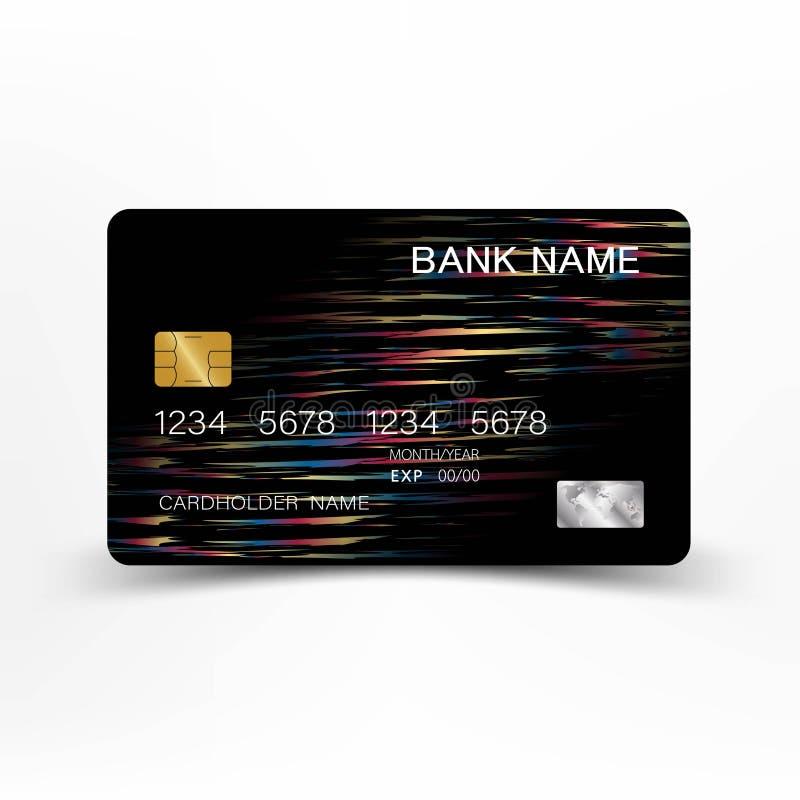 Progettazione variopinta del modello della carta di credito Su fondo bianco Illustrazione di vettore Stile di plastica lucido illustrazione vettoriale