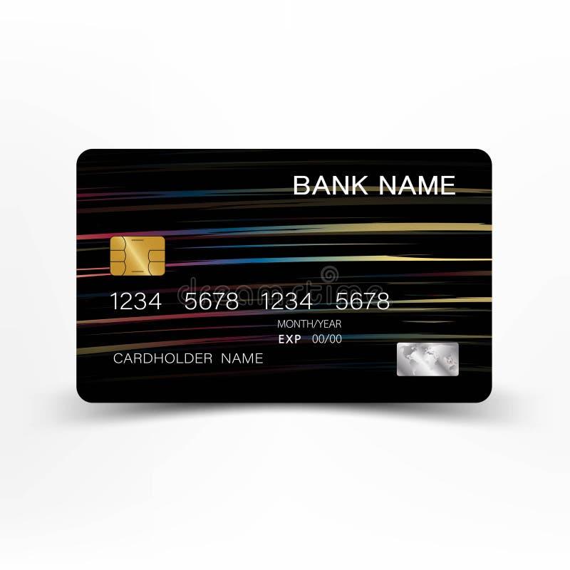 Progettazione variopinta del modello della carta di credito Su fondo bianco Illustrazione di vettore Stile di plastica lucido royalty illustrazione gratis
