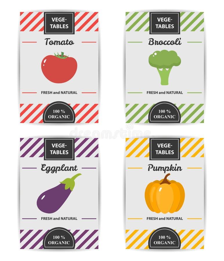 Progettazione variopinta dell'insieme di etichette di verdure fotografie stock
