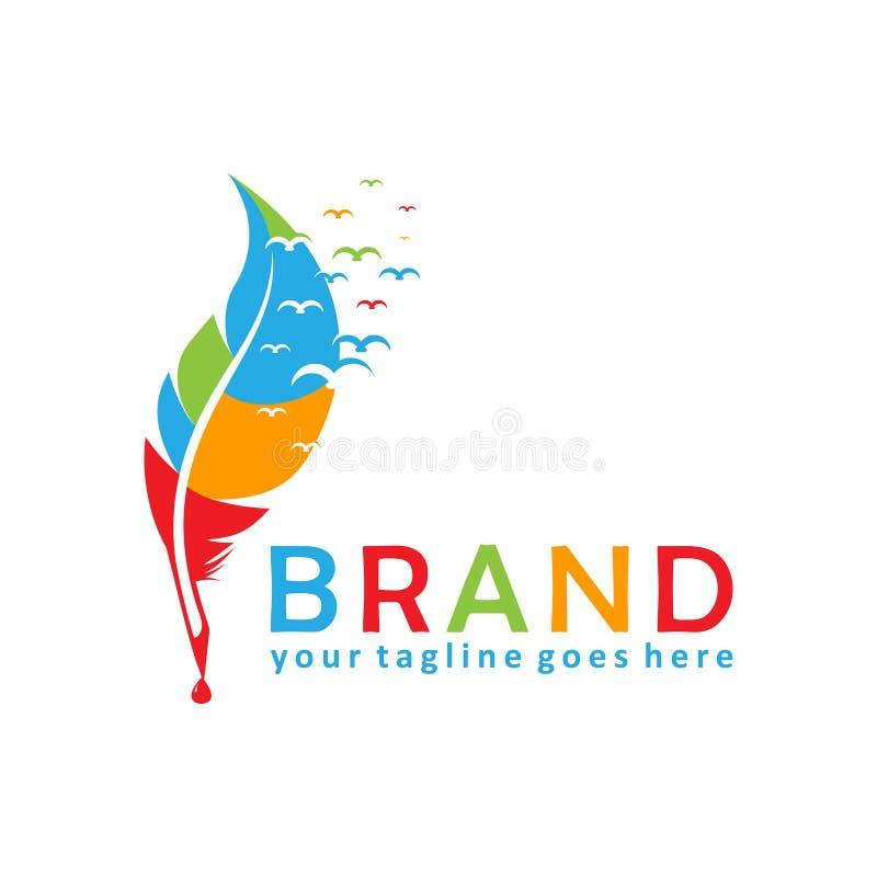 Progettazione variopinta di logo della penna della piuma immagini stock