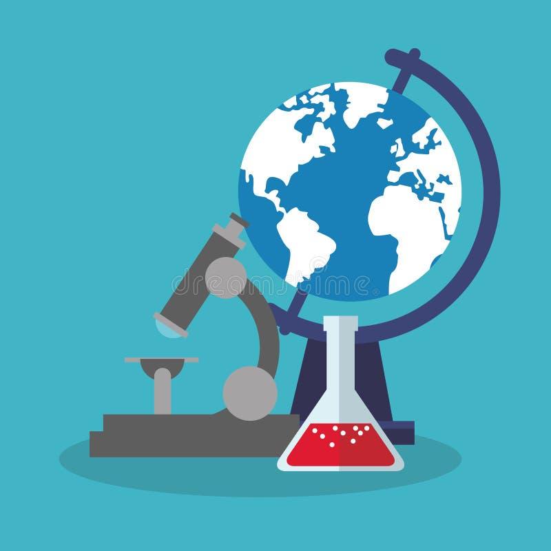 Progettazione variopinta di scienza e del microscopio illustrazione di stock