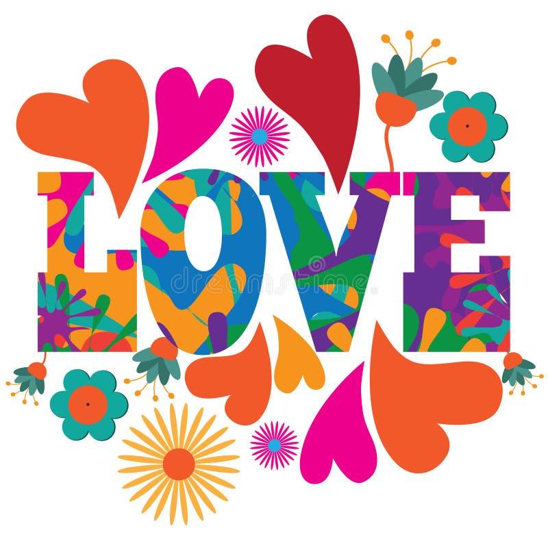 Progettazione variopinta psichedelica del testo di amore di Pop art del MOD di stile di anni sessanta illustrazione di stock